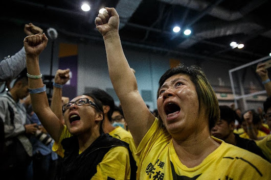 Hong Kong anti-China activists celebrate vote victory