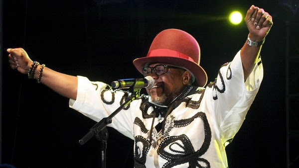 Congolese music star Papa Wemba performs during the Femua music festival in Abidjan on April 24, 2016 before collapsing on stage.