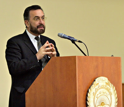 Rabbi David Rosen giving a speech at an Arab university on January 4, 2006