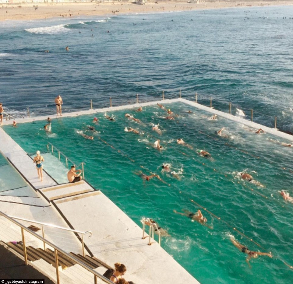 A group of swimmers are seen cooling off at Sydney's world famous Bondi Beach
