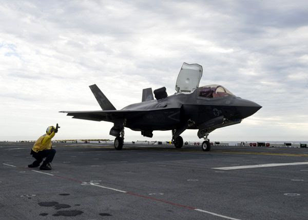 An F-35B Lightning II is about to take off from the amphibious assault ship USS America, on October 28, 2016.