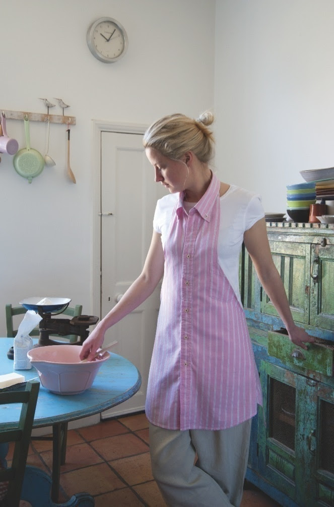Make an apron from your husband's/boyfriend's/father's button down shirt! What to do when the elbows rip out.