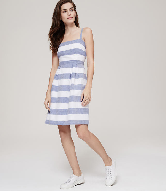 Primary Image of Striped Pleated Skirt Dress
