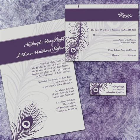 Custom Wedding Invitation Suite   Purple Peacock   With