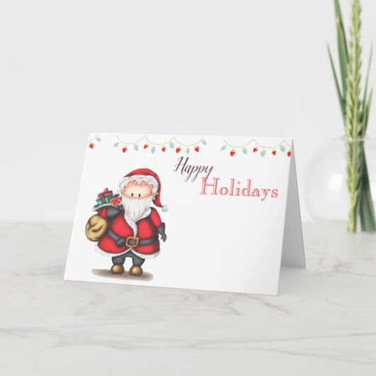 Happy Holidays Christmas card with Santa Claus