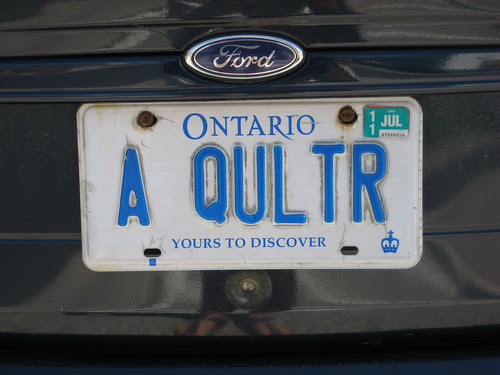 Quilters licence plate