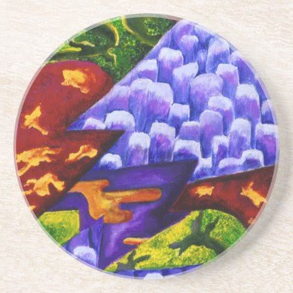 Dragonland, Abstract Green Dragons, Blue Mountains Beverage Coasters