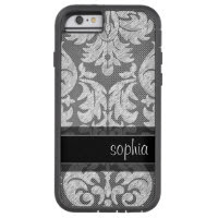 Rustic Chalkboard Lace Pattern Custom Name Tough Xtreme iPhone 6 Case