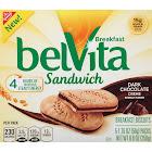 BelVita Sandwich Breakfast Biscuits, Dark Chocolate Creme - 5 pack, 8.8 oz box