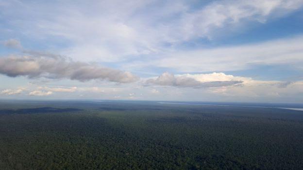 Vista aérea da cidade de Tabatinga, no Amazonas