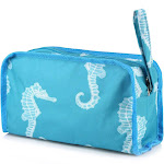 Zodaca Womens Travel Cosmetic Bag Multifunction Toiletry Pouch Makeup Organizer Zip Storage Case - Seahorse