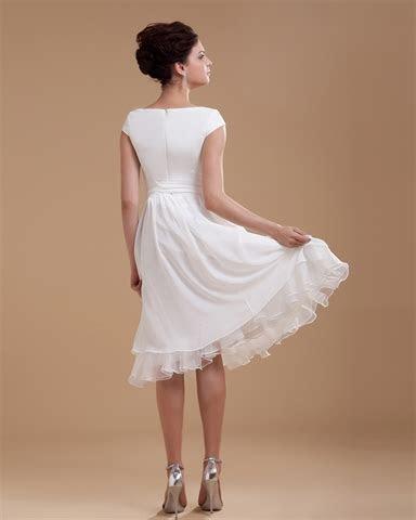 Simple Elegant Tea Length Chiffon Cap Sleeve Wedding