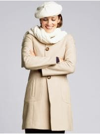 Petites: Petite wool-blend lady coat - Misty taupe