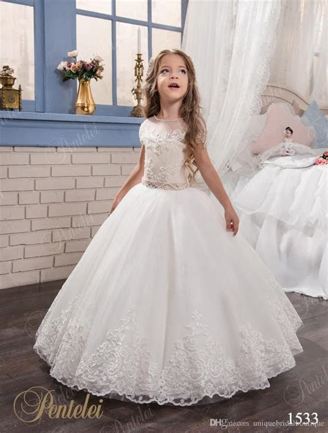 Kids Wedding Dresses with Cap Sleeves and Beaded Sash 2017