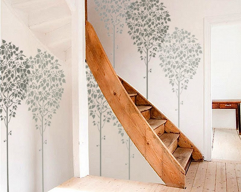 STENCIL for Walls - LINDEN Tree - Large, Reusable Wall Stencil - 5 ft. tall - OliveLeafStencils