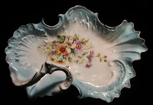 C. Tielsch & Co. Hand Painted Porcelain Flowered Scalloped Bowl