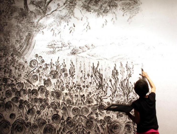 Impressionante mural pintado a dedo 09