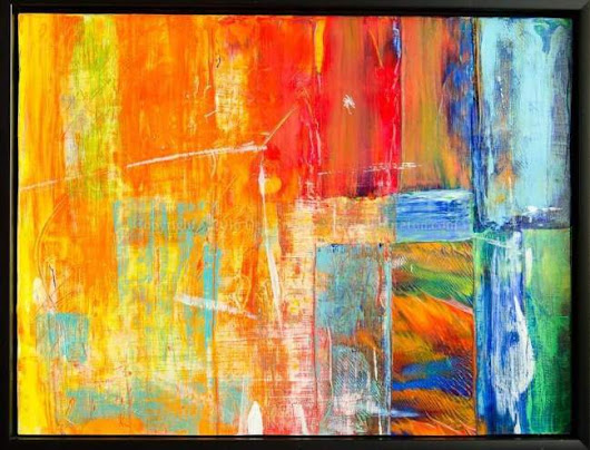 Sold - Colorful Abstract Painting in Float Frame by Deb Breton