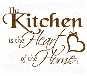 Kitchen Is The Heart of The Home Vinyl Wall Quote Decal   eBay