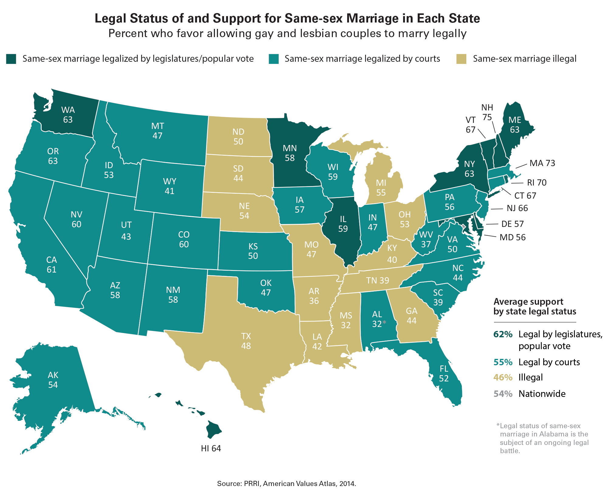 Map Legal Status Of And Support For Same Marriage In