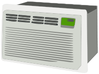 Window air conditioner, from left side
