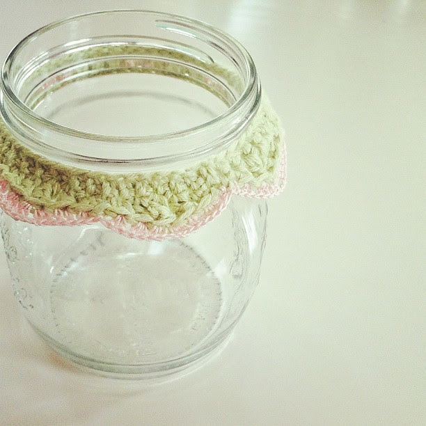 Before we got Ollie I had time to do silly things like crochet pretty frills for jars. #crochet #craft