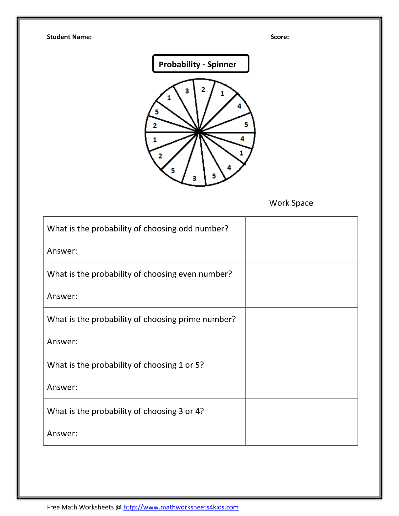 - 14 Best Images Of Probability Worksheet 7th Grade Practice 6th