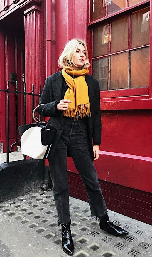 Le Fashion Blog Mustard Scarf Boyfriend Blazer Reworked Jeans Black Leather Ankle Boots Via Camillie Charriere