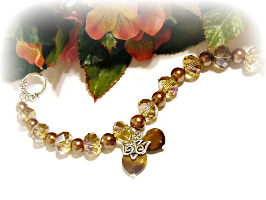 Two Hearts and a Dove Brown/Taupe/Bronze Crystal & Pearl Bracelet - Wedding, Bridal, Traditional, Charms, Unity