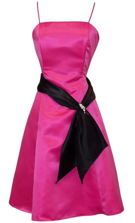 Hot Pink And Black Dresses Strapless Satin With Black Sash