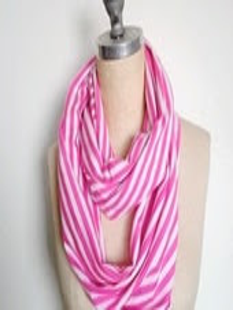 Jersey Infinity Circle Scarf Light Weight White and Pink Stripe - SevenWhiteRabbits