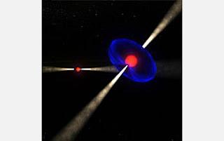 Ilustración del sistema de binario de púlsares PSR J0737-3039A/B