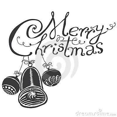 merry christmas clip art words black and white CsJD6N3L