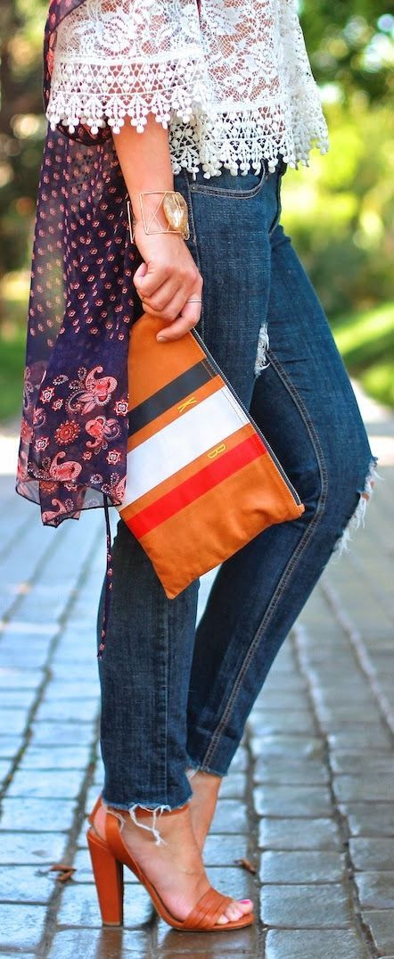 Mimic Design Tangerine Leather Multicolored Stripe Clutch