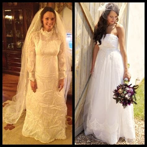 Mother's Vintage Wedding Dress   redesigned before and