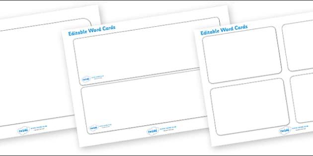 Editable Word Cards - Word card, word cards, editable, editable
