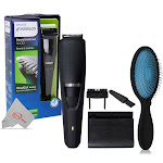 Philips Norelco Beard Trimmer BT3210/41 with Pro Pop Fold Detangling Brush BWP824-BLUE