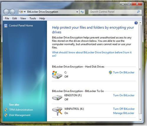 New Bitlocker in Windows 7 showing flash drives.