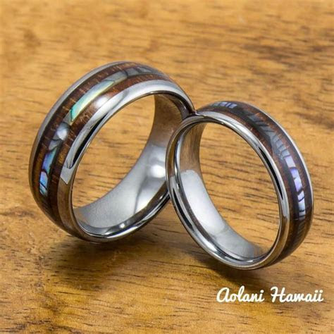 tungsten wedding band set  mother  pearl abalone