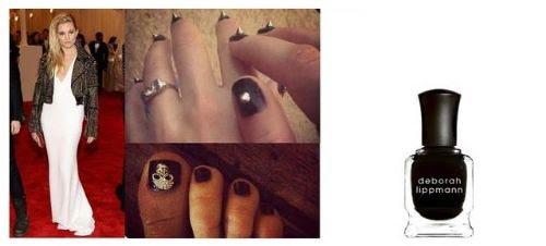 Sienna Miller wearing Deborah Lippmann Nail Polish in Fade to Black