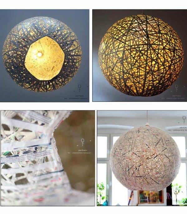 DIY Lampe: Basteln mit Zeitungsstreifen