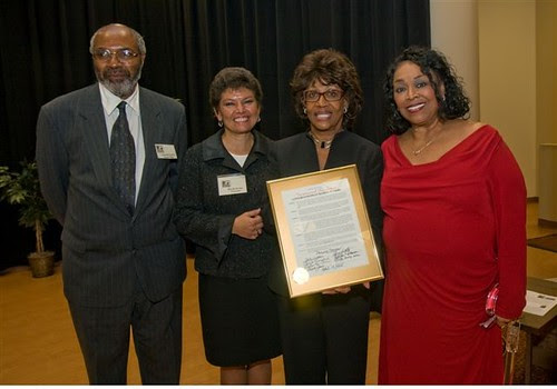 Abayomi Azikiwe, editor of the Pan-African News Wire,  Dr. Brenda Bryant of Marygrove College, Congresswoman Maxine Waters and City Councilwoman Barbara Rose-Collins at the MCHR Annual Dinner in Detroit on April 19, 2009. by Pan-African News Wire File Photos