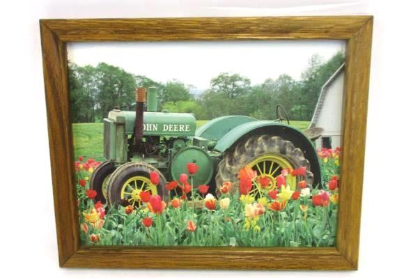 Swedemom Framed John Deere Tractor Print Barn Tulips Field Country