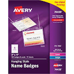 """Avery Top-Loading Hanging-Style Name Badges, 3"""" x 4"""", 100 Badges (74459)"""