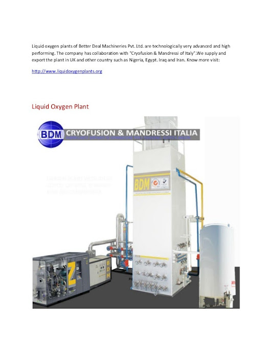 Liquid Oxygen Nitrogen Plants of Better Deal Machineries Pvt. Ltd.