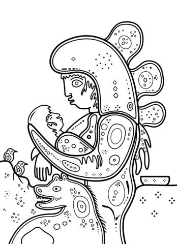 Dibujo De Madre E Hijo De David Morrisseau Para Colorear Dibujos