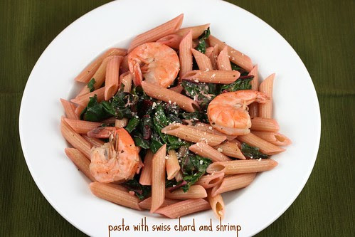 Pasta with Swiss Chard and Shrimp