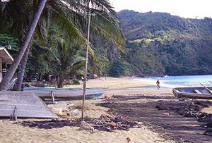 Castara village beach looking south, Tobago