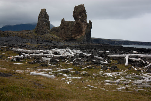 Lóndrangar - volcanic plug and the remnants of a fishing community