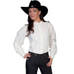 Scully Old West Shirt Womens Long Sleeve Ranch Blouse RW569 Ivory